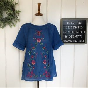 Umgee Embroidered Peasant Top